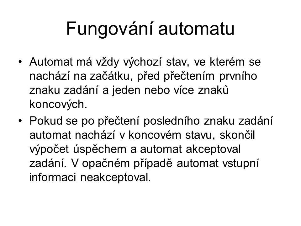 Fungování automatu Automat má vždy výchozí stav, ve kterém se nachází na začátku, před přečtením prvního znaku zadání a jeden nebo více znaků koncových.