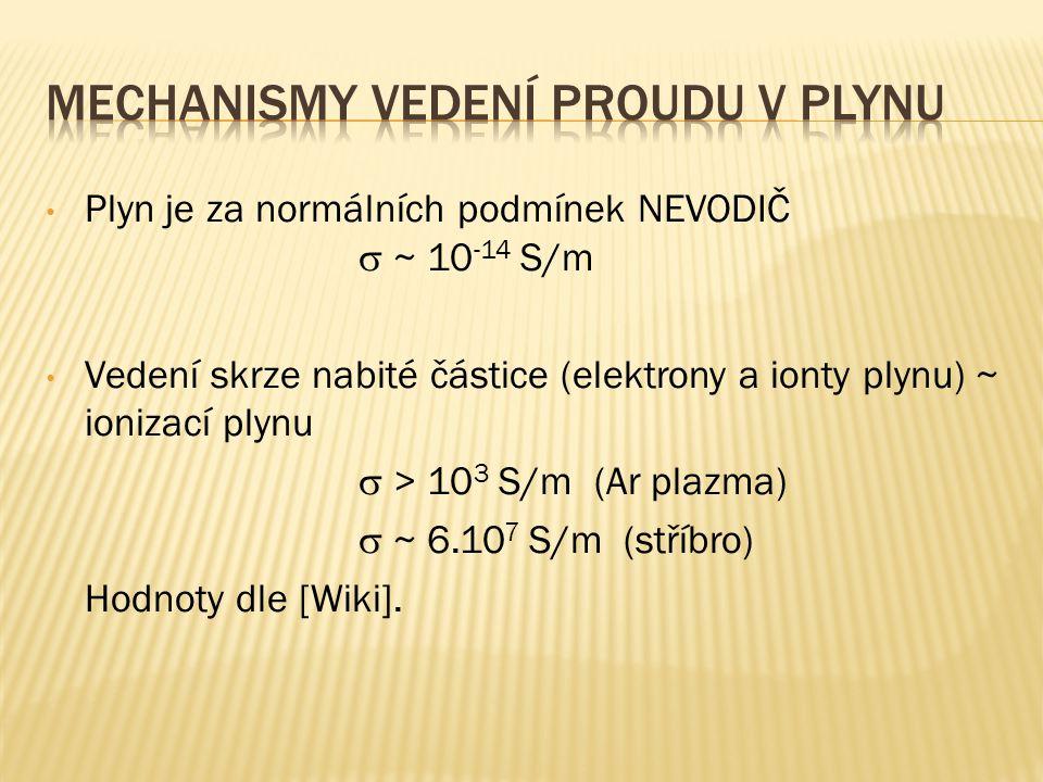 Plyn je za normálních podmínek NEVODIČ  ~ 10 -14 S/m Vedení skrze nabité částice (elektrony a ionty plynu) ~ ionizací plynu  > 10 3 S/m (Ar plazma)