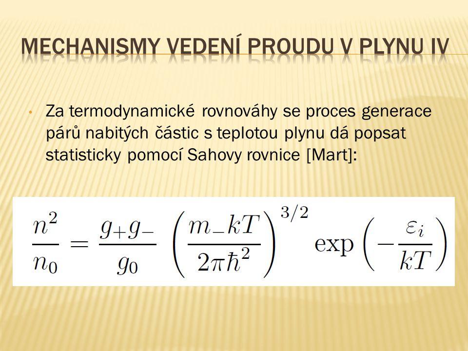 Za termodynamické rovnováhy se proces generace párů nabitých částic s teplotou plynu dá popsat statisticky pomocí Sahovy rovnice [Mart]: