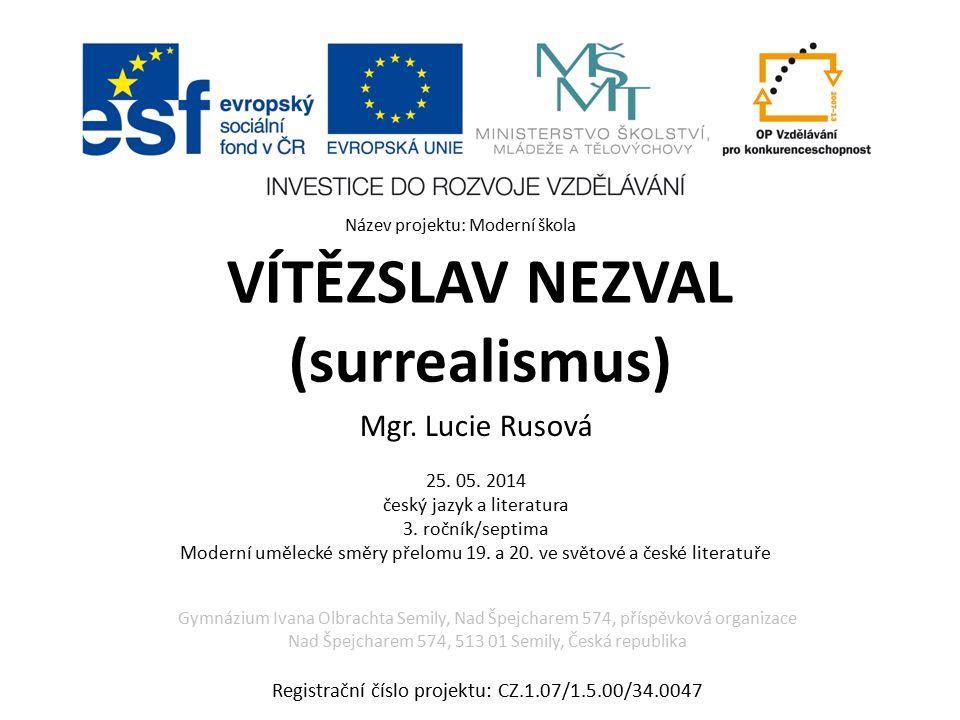 VÍTĚZSLAV NEZVAL (surrealismus) Mgr.Lucie Rusová 25.