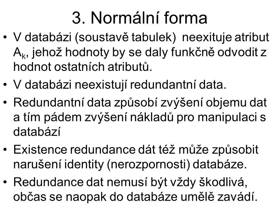 3. Normální forma V databázi (soustavě tabulek) neexituje atribut A k, jehož hodnoty by se daly funkčně odvodit z hodnot ostatních atributů. V databáz