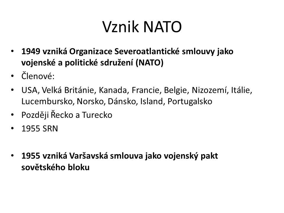 Vznik NATO 1949 vzniká Organizace Severoatlantické smlouvy jako vojenské a politické sdružení (NATO) Členové: USA, Velká Británie, Kanada, Francie, Belgie, Nizozemí, Itálie, Lucembursko, Norsko, Dánsko, Island, Portugalsko Později Řecko a Turecko 1955 SRN 1955 vzniká Varšavská smlouva jako vojenský pakt sovětského bloku