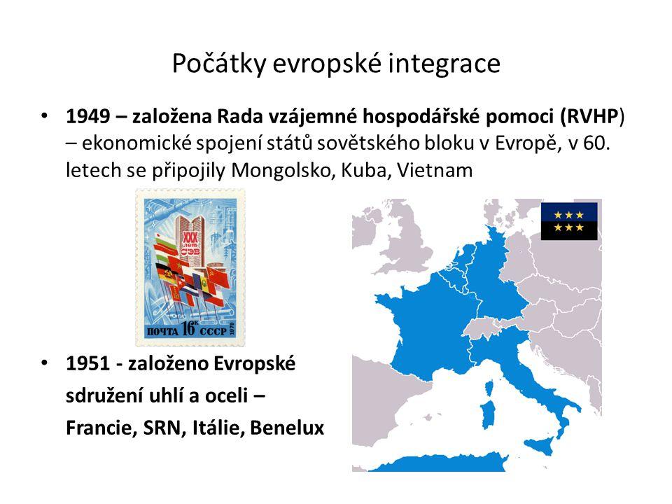 Počátky evropské integrace 1949 – založena Rada vzájemné hospodářské pomoci (RVHP) – ekonomické spojení států sovětského bloku v Evropě, v 60.