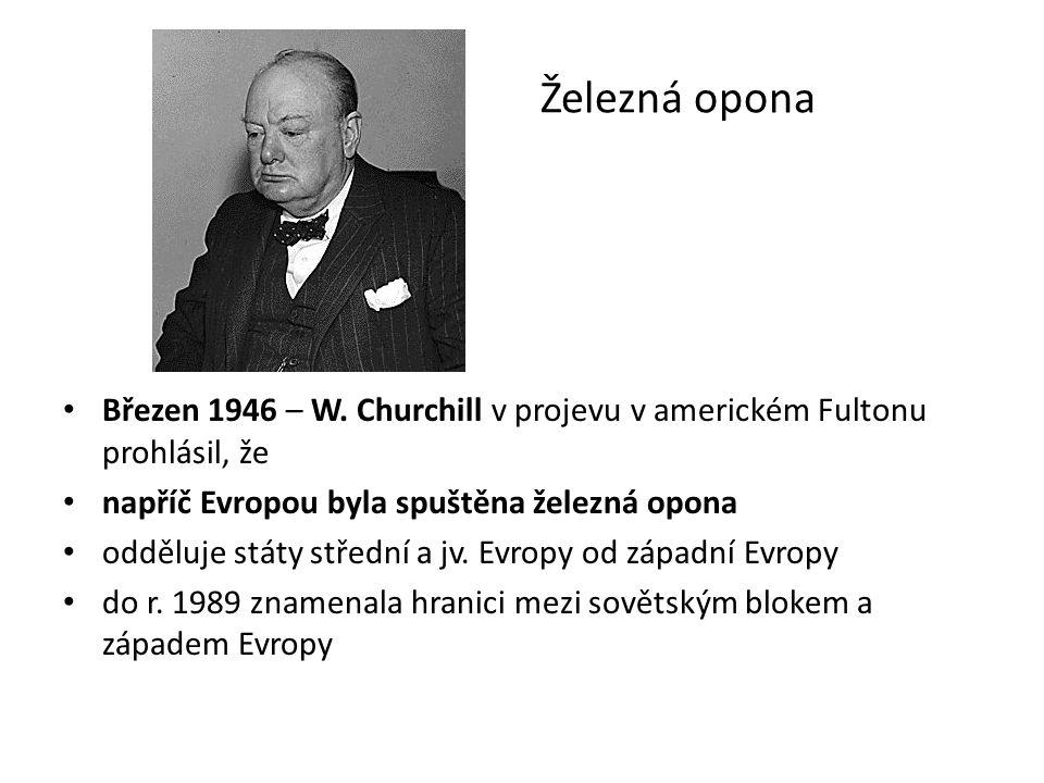 Železná opona Březen 1946 – W. Churchill v projevu v americkém Fultonu prohlásil, že napříč Evropou byla spuštěna železná opona odděluje státy střední