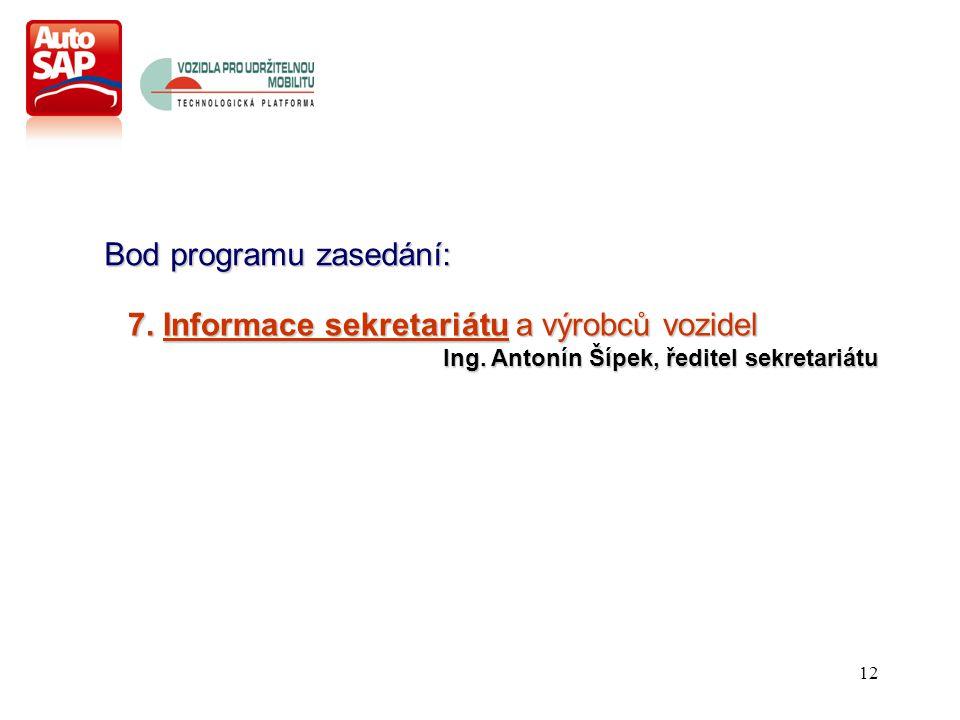 12 Bod programu zasedání: 7. Informace sekretariátu a výrobců vozidel Ing.