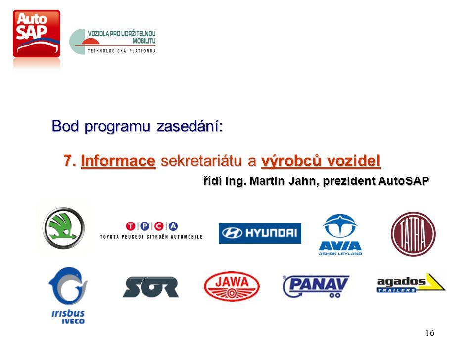 16 Bod programu zasedání: 7. Informace sekretariátu a výrobců vozidel řídí Ing.