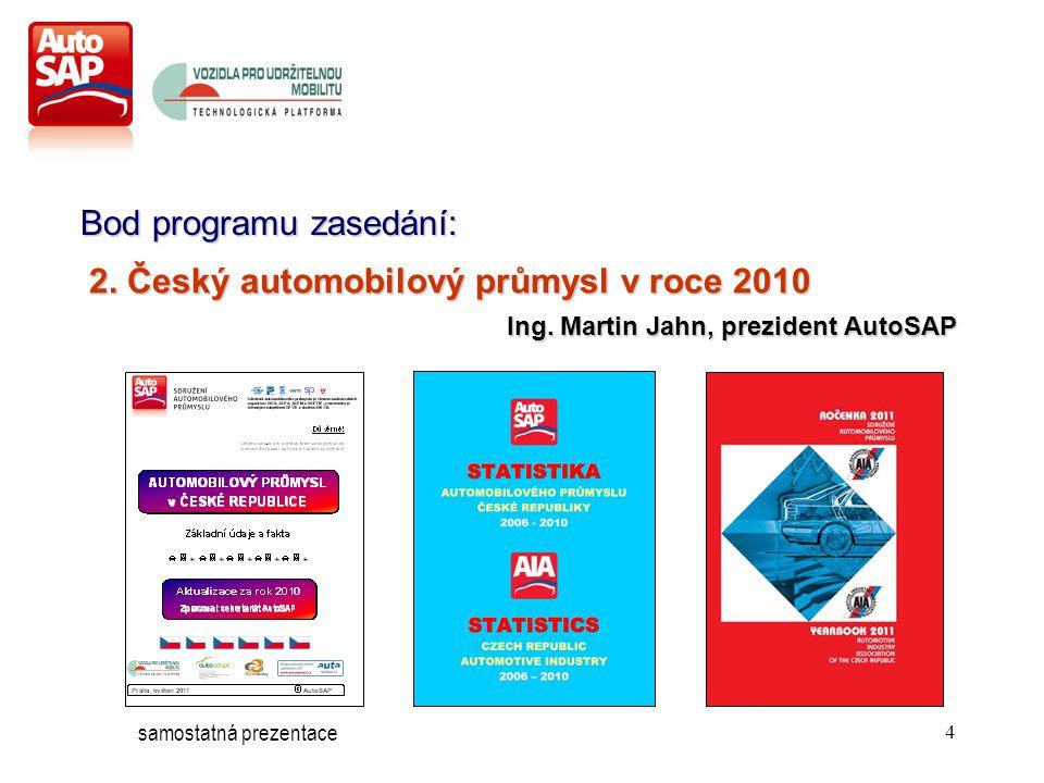 4 Bod programu zasedání: 2. Český automobilový průmysl v roce 2010 Ing.