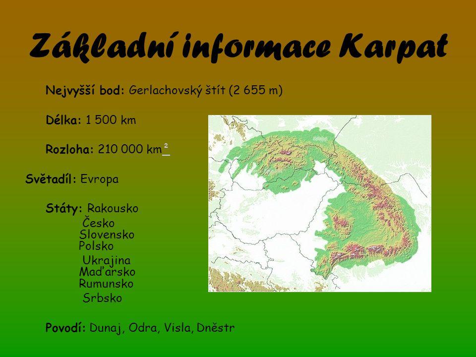 Základní informace Karpat Nejvyšší bod: Gerlachovský štít (2 655 m)  Délka: 1 500 km Rozloha: 210 000 km²² Světadíl: Evropa Státy: Rakousko Česko Slovensko Polsko Ukrajina Maďarsko Rumunsko Srbsko Povodí: Dunaj, Odra, Visla, Dněstr