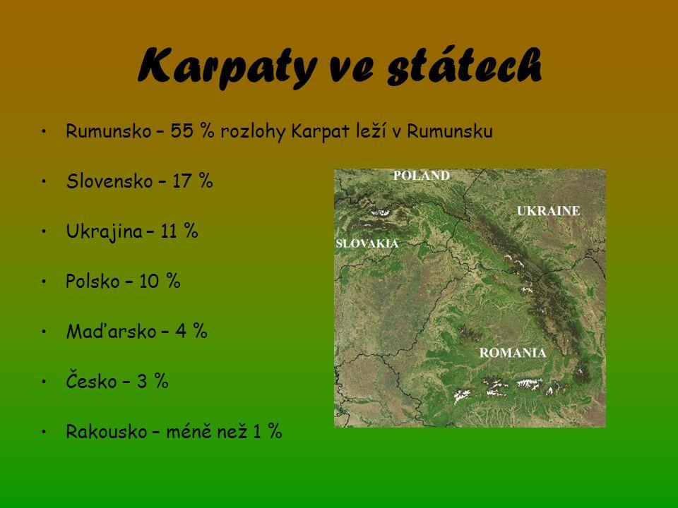 Karpaty ve státech Rumunsko – 55 % rozlohy Karpat leží v Rumunsku Slovensko – 17 % Ukrajina – 11 % Polsko – 10 % Maďarsko – 4 % Česko – 3 % Rakousko – méně než 1 %