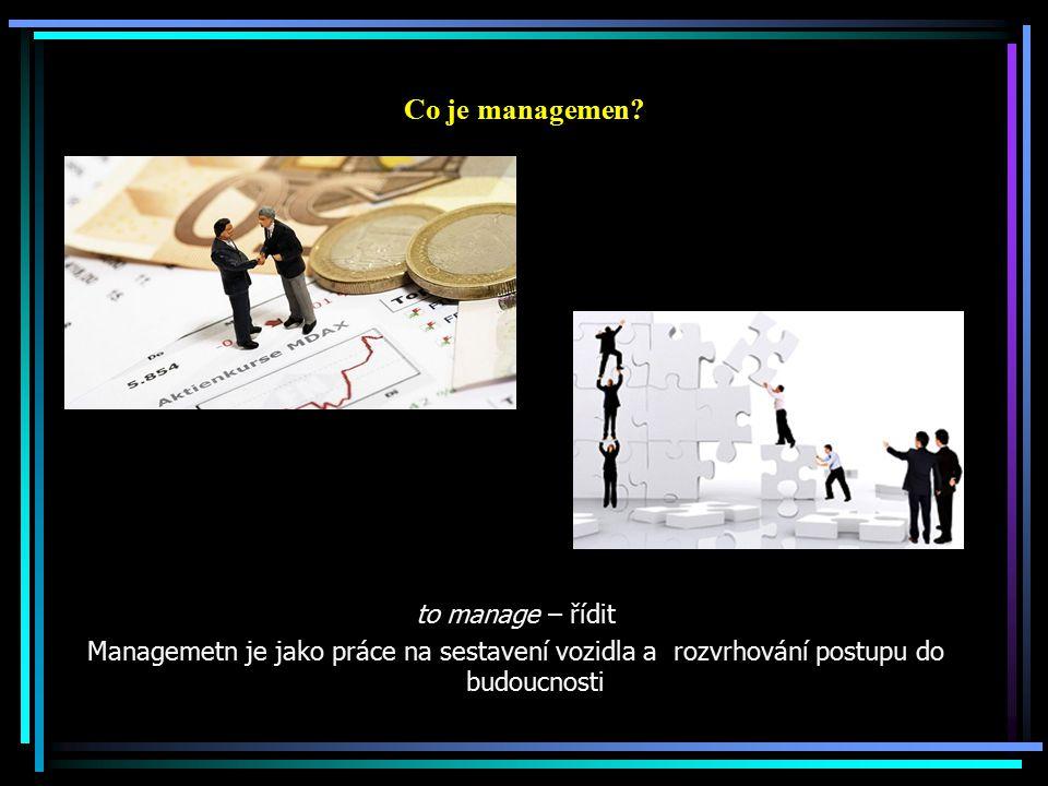 Management Čelní sklo umožňuje vidět kam jedete (směr, vize, budoucnost), v jaké se pohybujete krajině, zda jedete po silnici, po dálnici nebo po polní cestě, kdo vás předjiždí ( okolní prostředí, trhy, konkurence) = poznání trendů Zpětné zrcátko – v něm se odráží, co je za Vámi (kde jste byli, jak jste se tam dostali = analýza SWOT