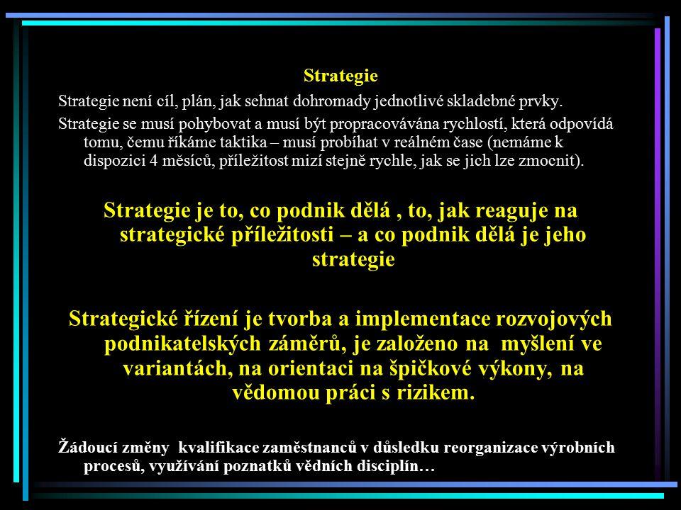 Strategie Strategie není cíl, plán, jak sehnat dohromady jednotlivé skladebné prvky.