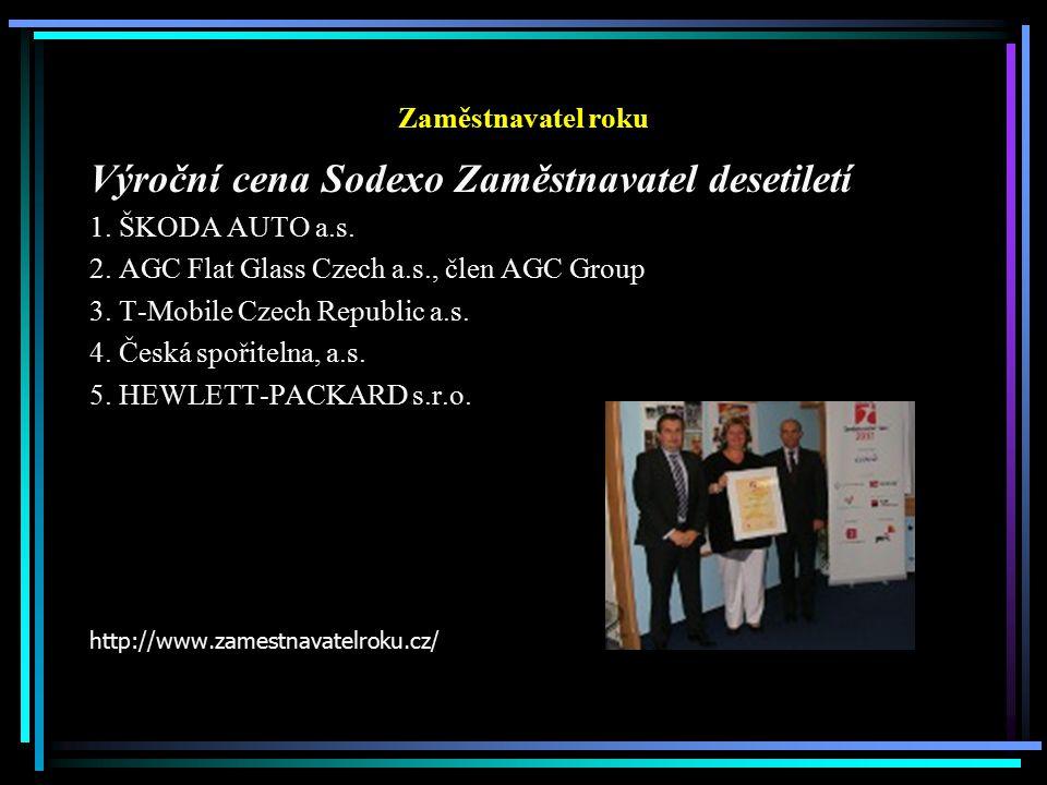 Zaměstnavatel roku Výroční cena Sodexo Zaměstnavatel desetiletí 1.