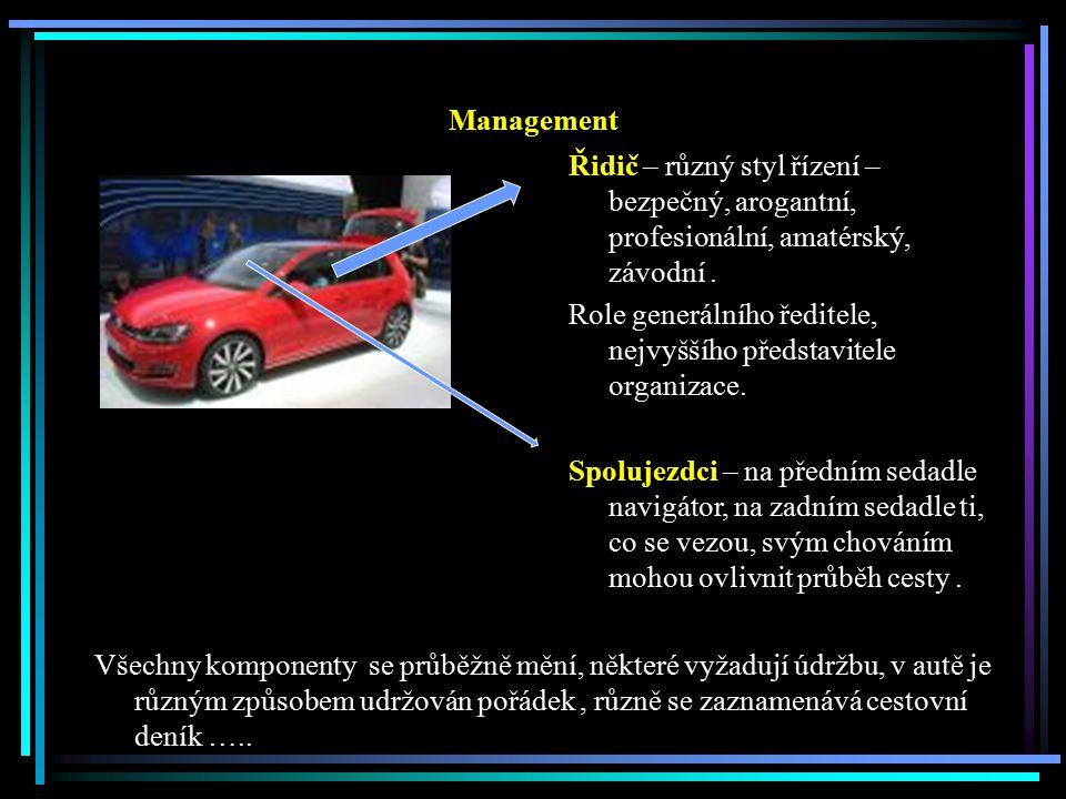 Management Řidič – různý styl řízení – bezpečný, arogantní, profesionální, amatérský, závodní.
