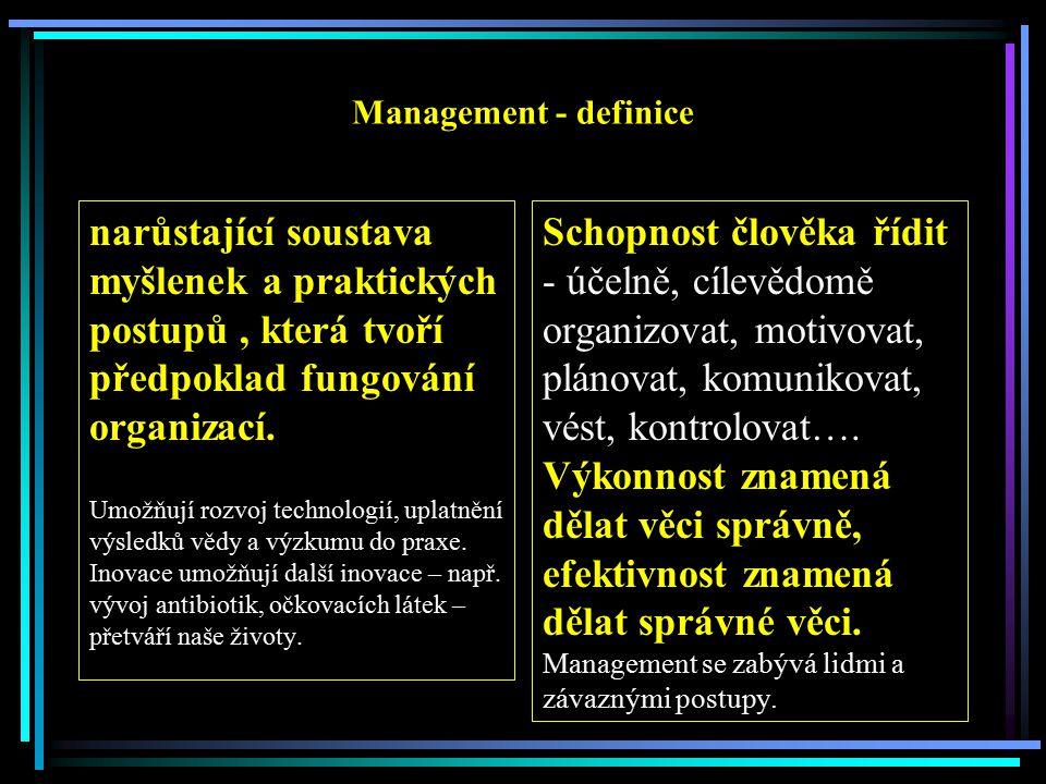 Management - definice narůstající soustava myšlenek a praktických postupů, která tvoří předpoklad fungování organizací.