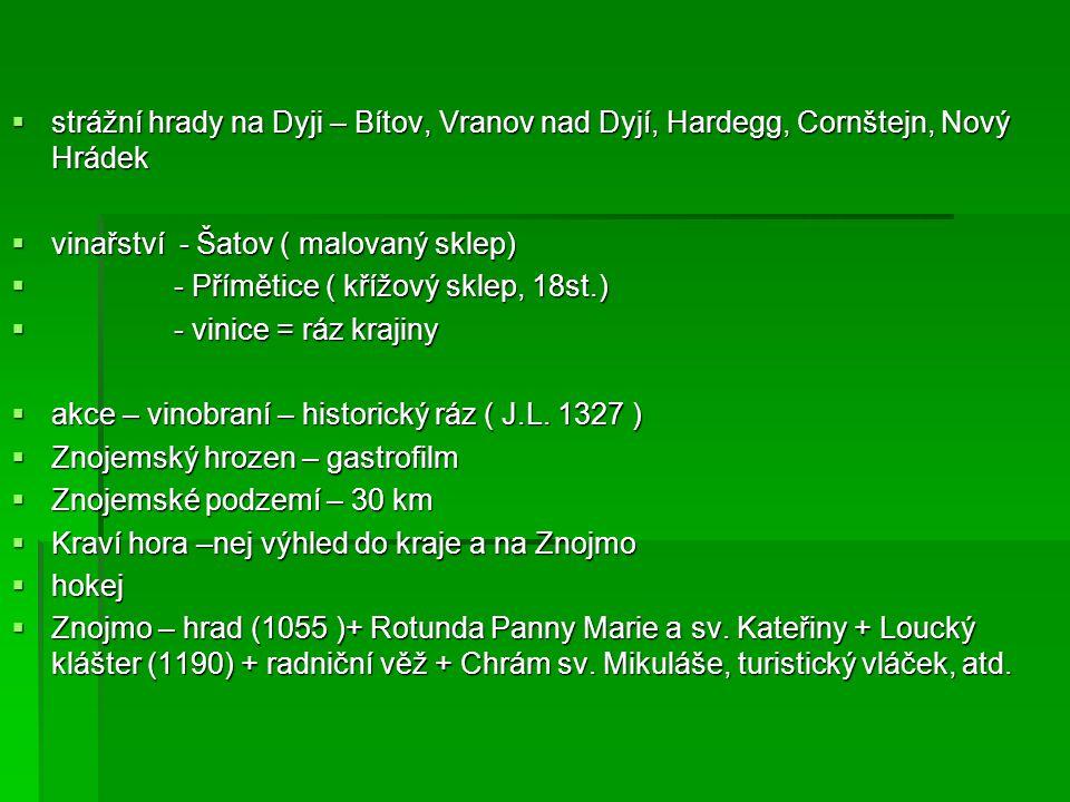  strážní hrady na Dyji – Bítov, Vranov nad Dyjí, Hardegg, Cornštejn, Nový Hrádek  vinařství - Šatov ( malovaný sklep)  - Přímětice ( křížový sklep,