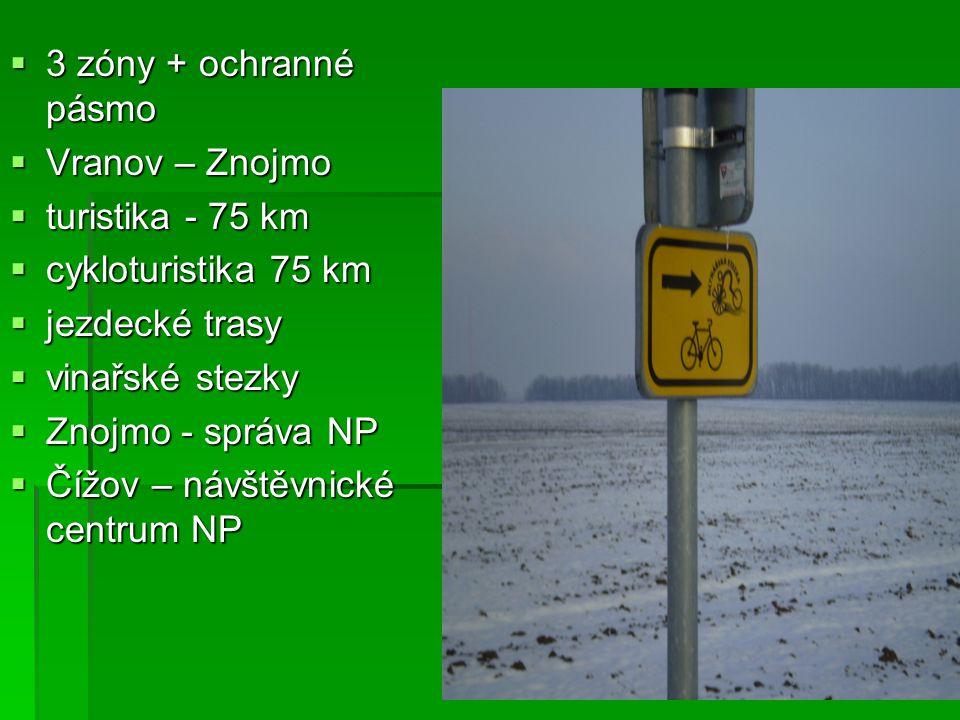 3333 zóny + ochranné pásmo VVVVranov – Znojmo tttturistika - 75 km ccccykloturistika 75 km jjjjezdecké trasy vvvvinařské stezk