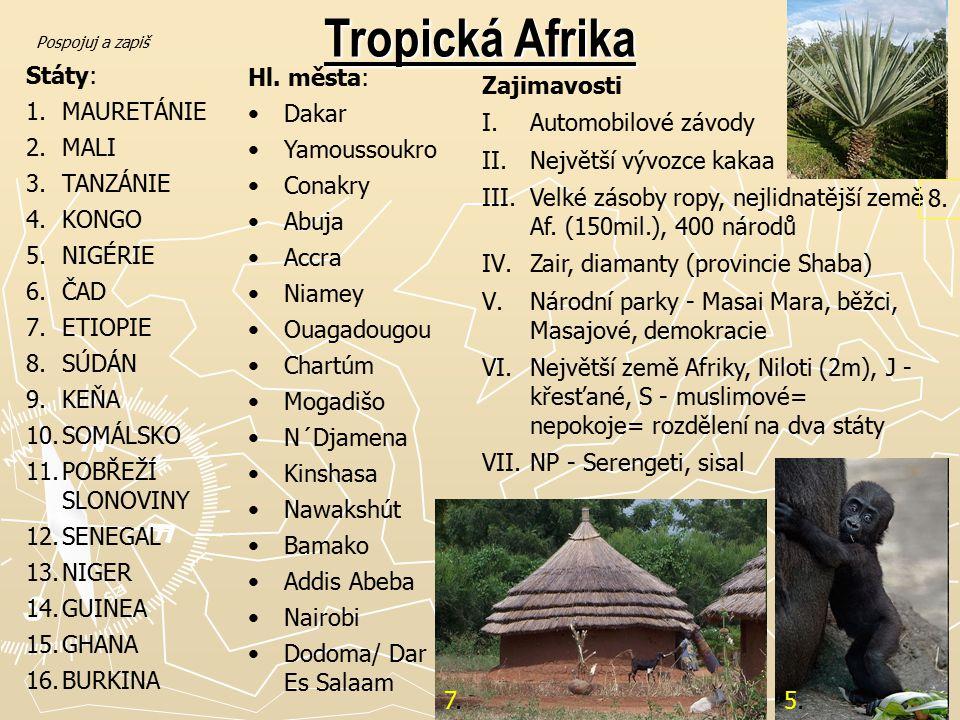 Tropická Afrika Státy: 1.MAURETÁNIE 2.MALI 3.TANZÁNIE 4.KONGO 5.NIGÉRIE 6.ČAD 7.ETIOPIE 8.SÚDÁN 9.KEŇA 10.SOMÁLSKO 11.POBŘEŽÍ SLONOVINY 12.SENEGAL 13.