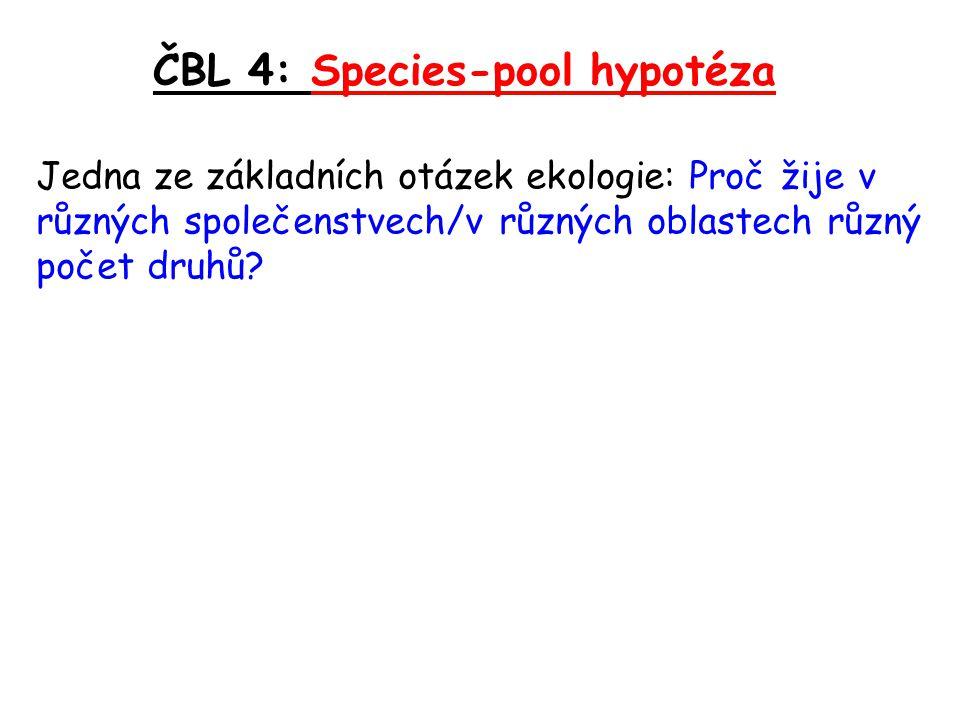 ČBL 4: Species-pool hypotéza Jedna ze základních otázek ekologie: Proč žije v různých společenstvech/v různých oblastech různý počet druhů?