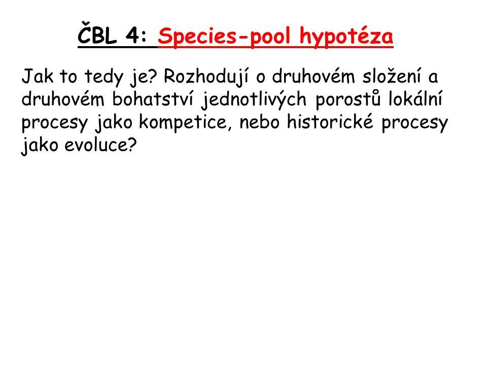 ČBL 4: Species-pool hypotéza Jak to tedy je? Rozhodují o druhovém složení a druhovém bohatství jednotlivých porostů lokální procesy jako kompetice, ne