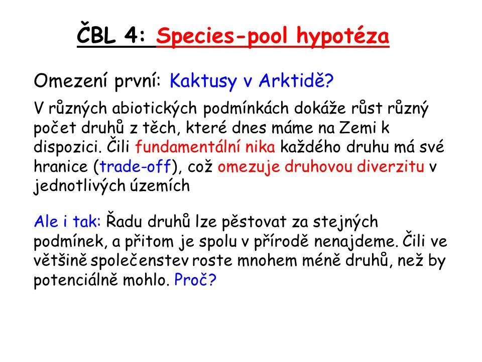 ČBL 4: Species-pool hypotéza Omezení první: Kaktusy v Arktidě? V různých abiotických podmínkách dokáže růst různý počet druhů z těch, které dnes máme