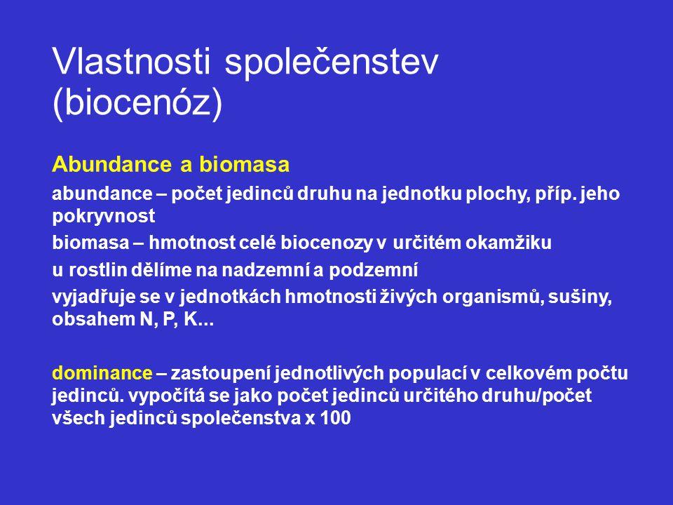 Vlastnosti společenstev (biocenóz) Abundance a biomasa abundance – počet jedinců druhu na jednotku plochy, příp.