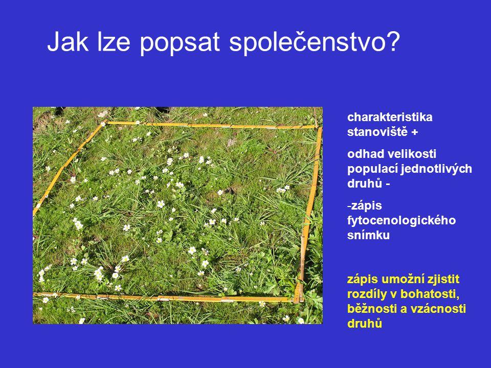 Seznam druhů všechny cévnaté rostliny stromové patro (E 3 ) keřové patro (E 2 ) bylinné patro (E 1 ) všechny terikolní mechorosty a makrolišejníky mechové patro (E 0 ) Ne: řasy houby mikrolišejníky epifytické mechorosty a lišejníky