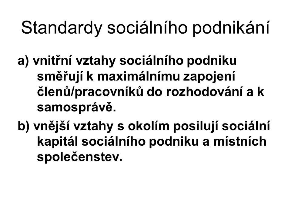 Standardy sociálního podnikání a) vnitřní vztahy sociálního podniku směřují k maximálnímu zapojení členů/pracovníků do rozhodování a k samosprávě.