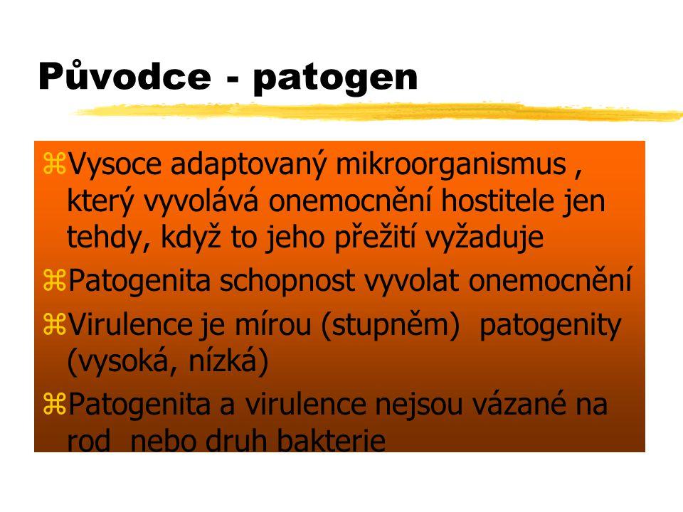 Původce - patogen zVysoce adaptovaný mikroorganismus, který vyvolává onemocnění hostitele jen tehdy, když to jeho přežití vyžaduje zPatogenita schopno