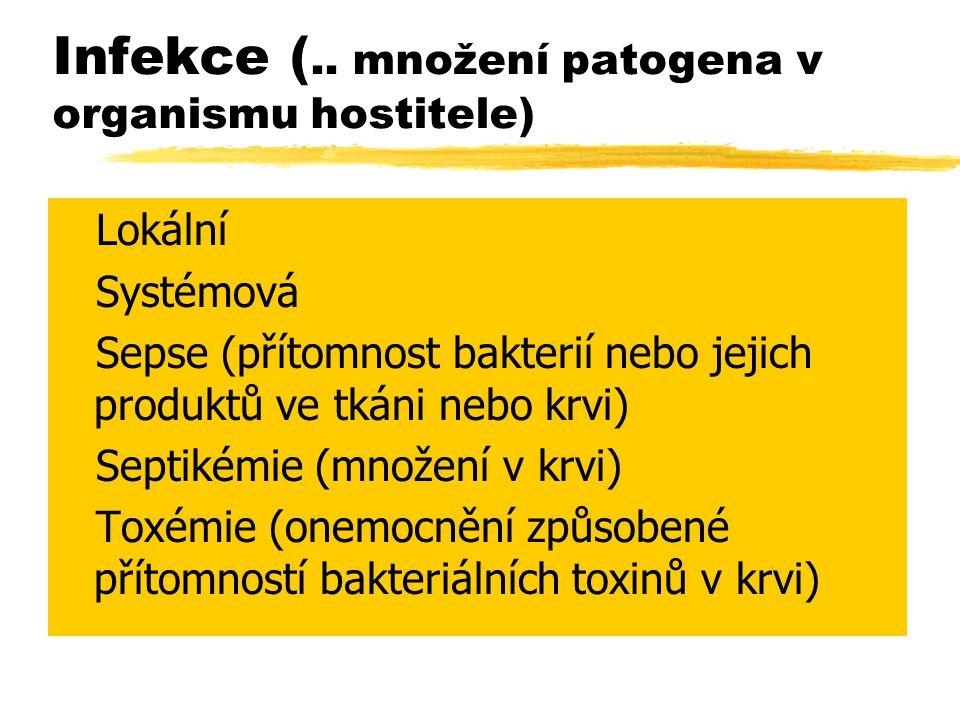 Infekce (.. množení patogena v organismu hostitele) zLokální zSystémová zSepse (přítomnost bakterií nebo jejich produktů ve tkáni nebo krvi) zSeptikém