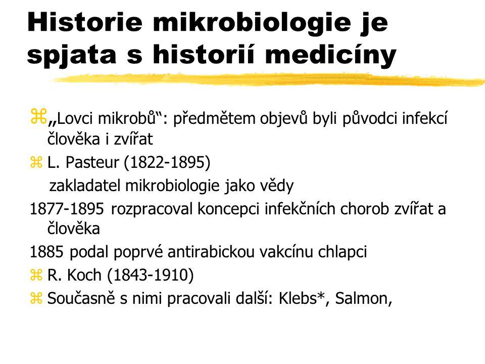"""Historie mikrobiologie je spjata s historií medicíny z"""" Lovci mikrobů"""": předmětem objevů byli původci infekcí člověka i zvířat zL. Pasteur (1822-1895)"""