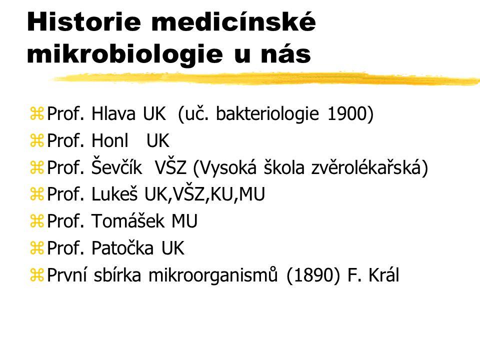Historie medicínské mikrobiologie u nás zProf. Hlava UK (uč. bakteriologie 1900) zProf. Honl UK zProf. Ševčík VŠZ (Vysoká škola zvěrolékařská) zProf.