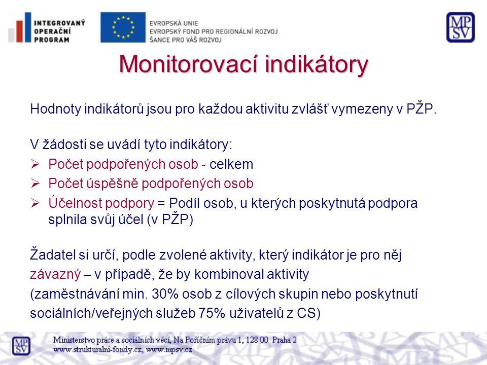 Monitorovací indikátory Hodnoty indikátorů jsou pro každou aktivitu zvlášť vymezeny v PŽP. V žádosti se uvádí tyto indikátory:  Počet podpořených oso