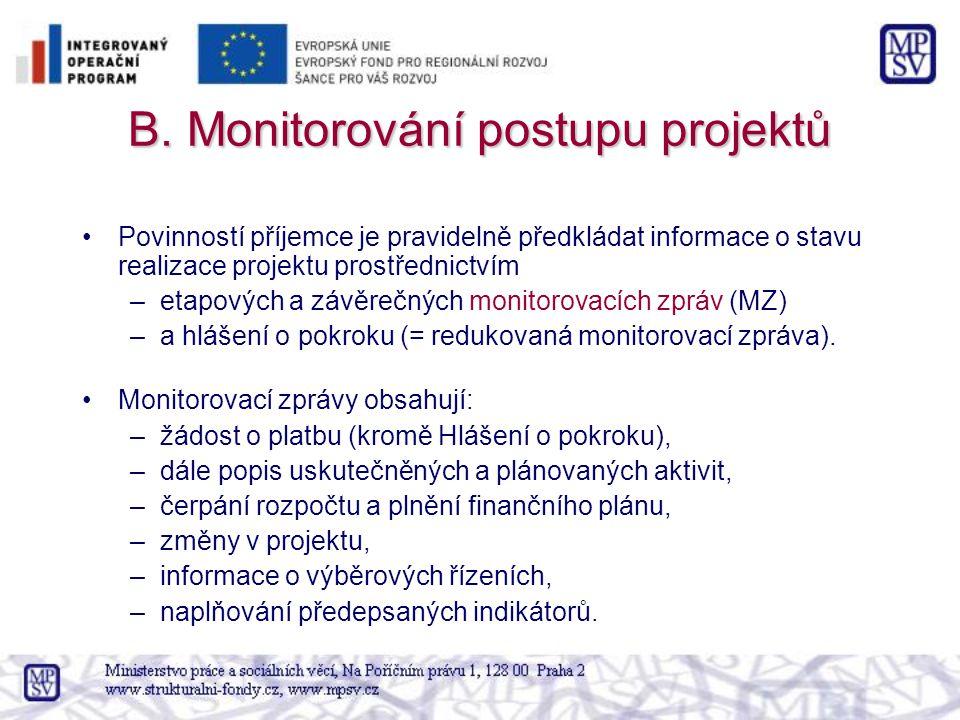 B. Monitorování postupu projektů Povinností příjemce je pravidelně předkládat informace o stavu realizace projektu prostřednictvím –etapových a závěre