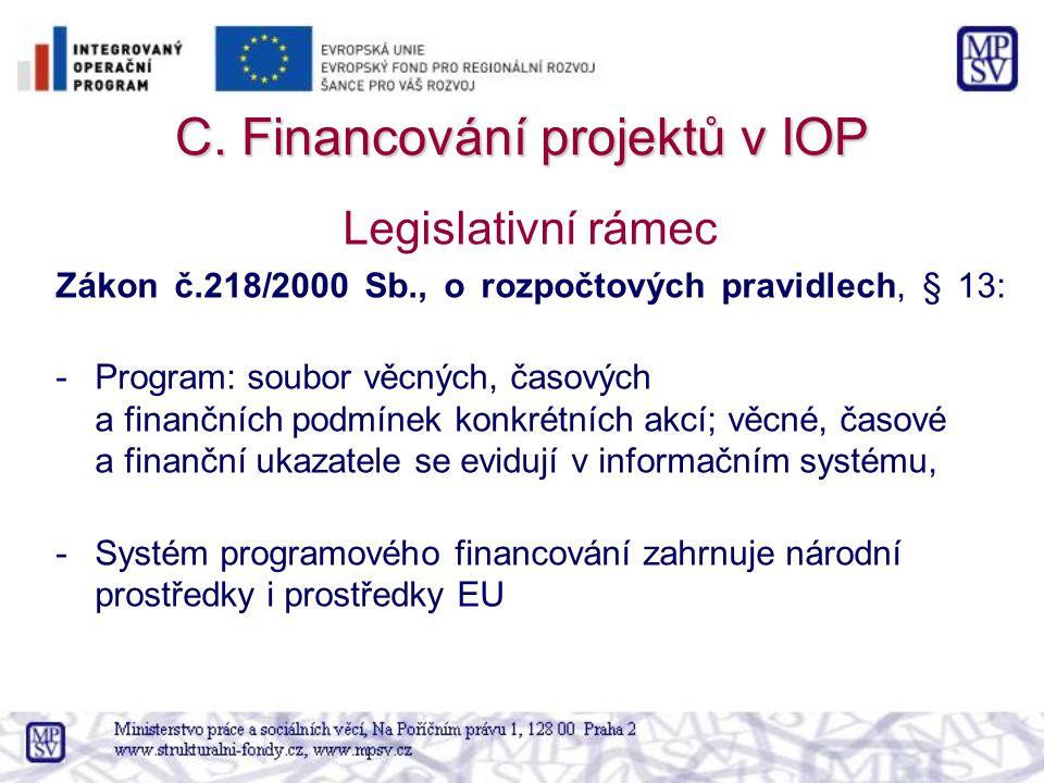 C. Financování projektů v IOP Legislativní rámec Zákon č.218/2000 Sb., o rozpočtových pravidlech, § 13: -Program: soubor věcných, časových a finančníc