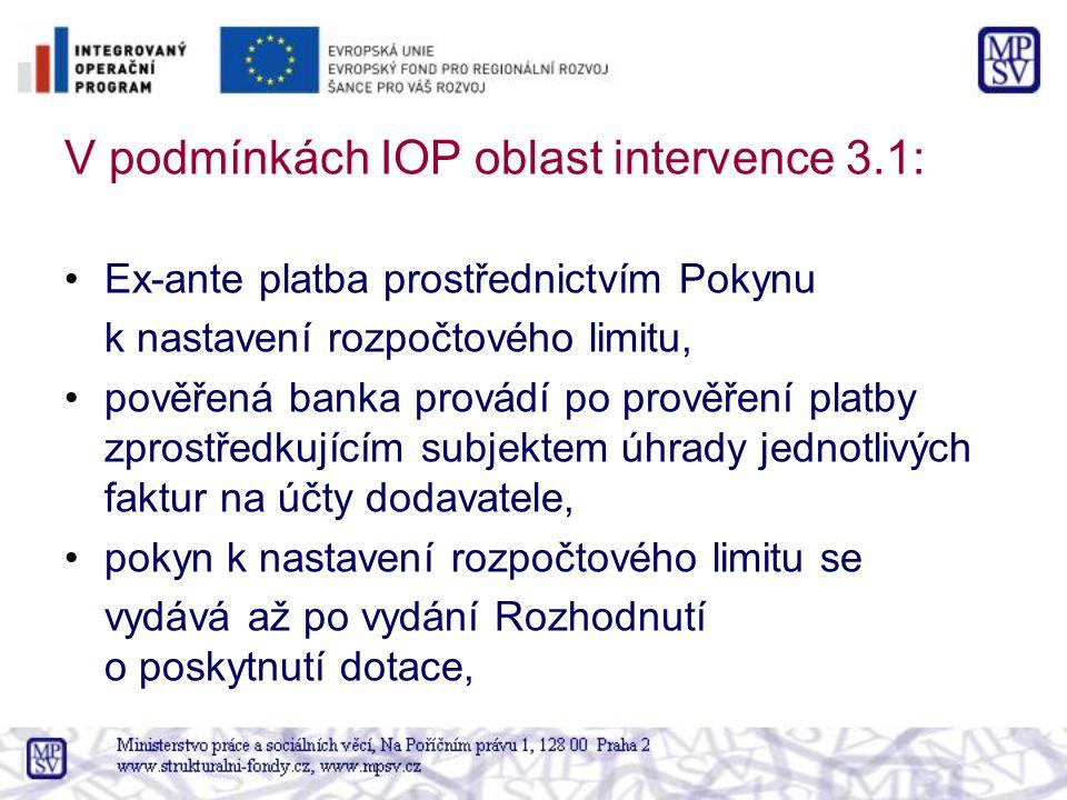 V podmínkách IOP oblast intervence 3.1: Ex-ante platba prostřednictvím Pokynu k nastavení rozpočtového limitu, pověřená banka provádí po prověření pla