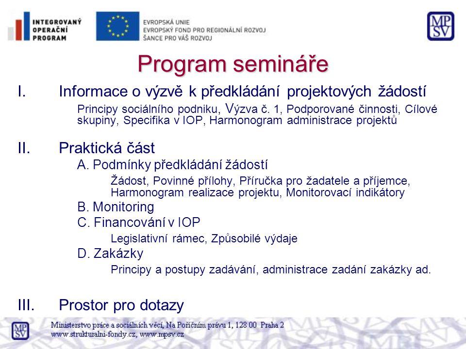 Program semináře I.Informace o výzvě k předkládání projektových žádostí Principy sociálního podniku, V ýzva č. 1, Podporované činnosti, Cílové skupiny