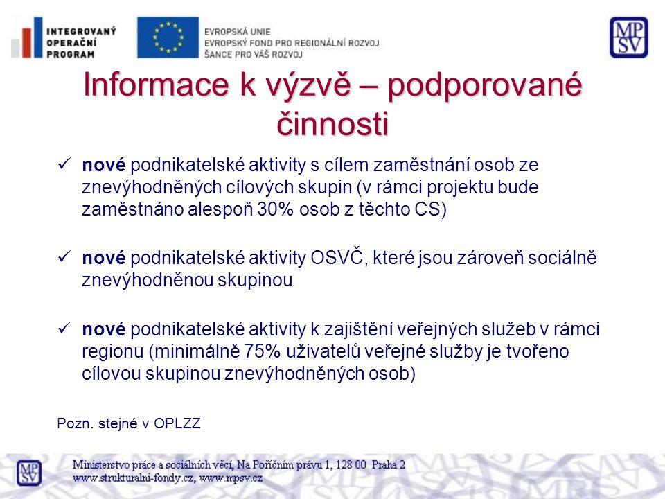 Informace k výzvě – podporované činnosti nové podnikatelské aktivity s cílem zaměstnání osob ze znevýhodněných cílových skupin (v rámci projektu bude