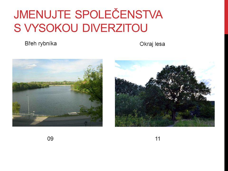 JMENUJTE SPOLEČENSTVA S VYSOKOU DIVERZITOU 0911 Břeh rybníka Okraj lesa