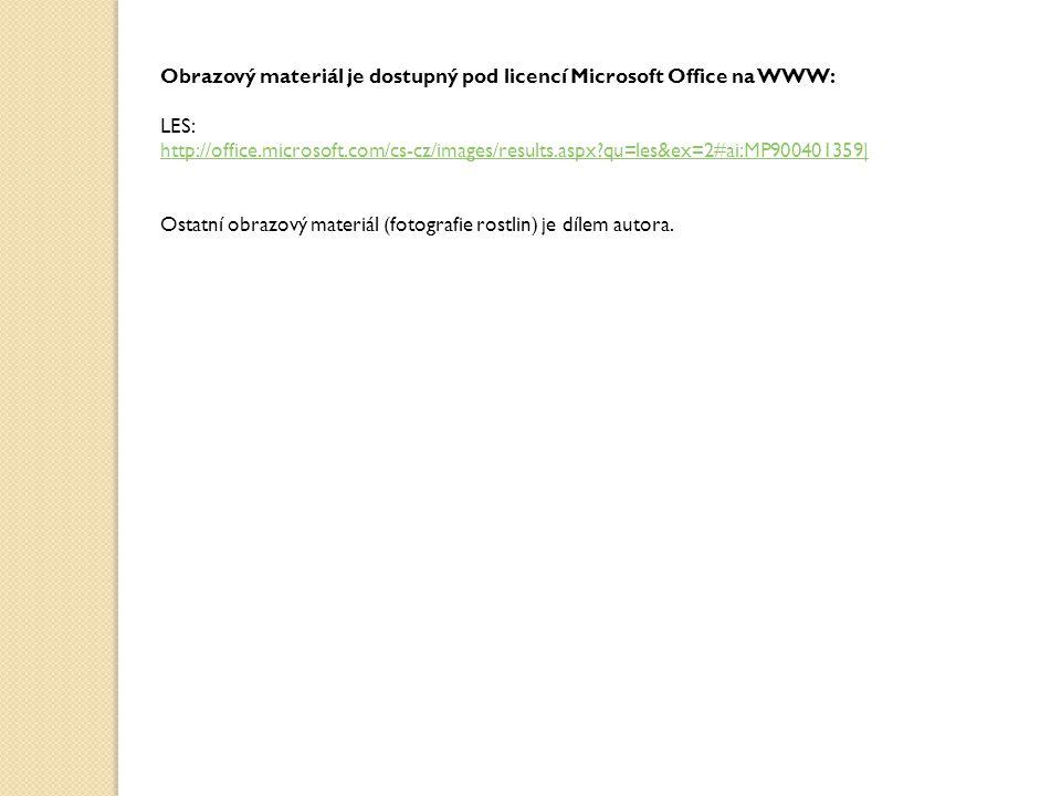 Obrazový materiál je dostupný pod licencí Microsoft Office na WWW: LES: http://office.microsoft.com/cs-cz/images/results.aspx?qu=les&ex=2#ai:MP9004013