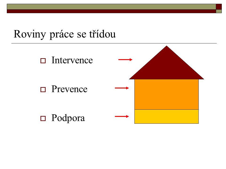 Roviny práce se třídou  Intervence  Prevence  Podpora