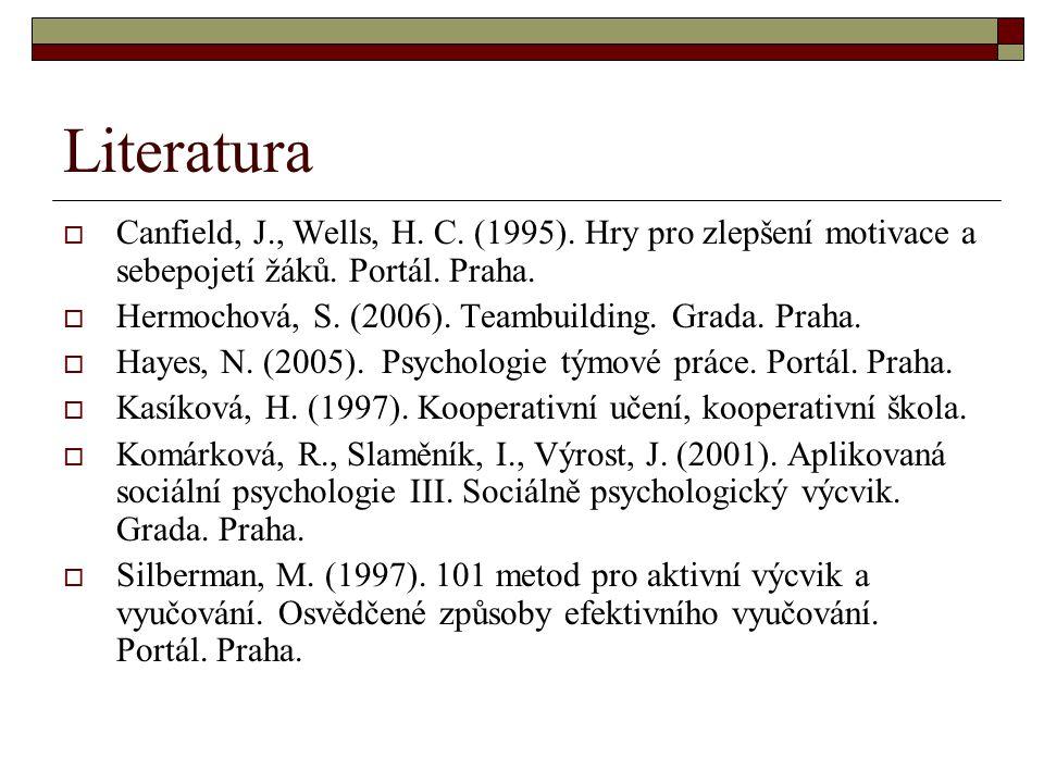 Literatura  Canfield, J., Wells, H. C. (1995). Hry pro zlepšení motivace a sebepojetí žáků. Portál. Praha.  Hermochová, S. (2006). Teambuilding. Gra