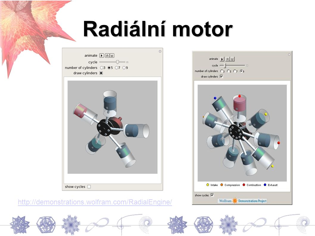 Radiální motor http://demonstrations.wolfram.com/RadialEngine/