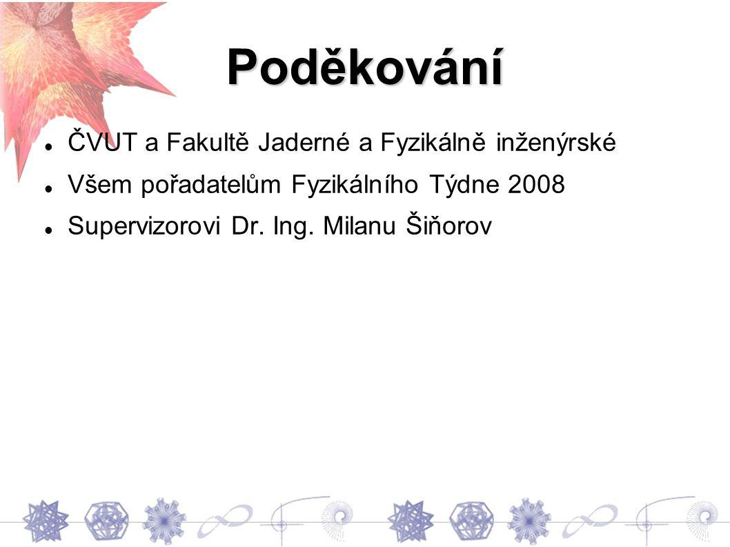 Poděkování ČVUT a Fakultě Jaderné a Fyzikálně inženýrské Všem pořadatelům Fyzikálního Týdne 2008 Supervizorovi Dr.