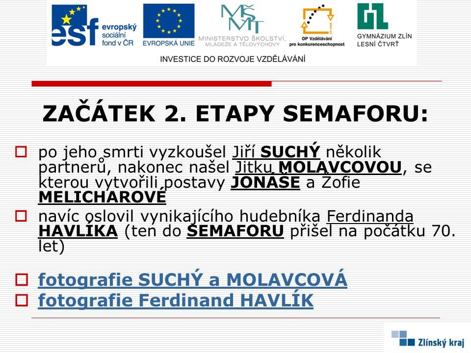 ZAČÁTEK 2. ETAPY SEMAFORU:  po jeho smrti vyzkoušel Jiří SUCHÝ několik partnerů, nakonec našel Jitku MOLAVCOVOU, se kterou vytvořili postavy JONÁŠE a