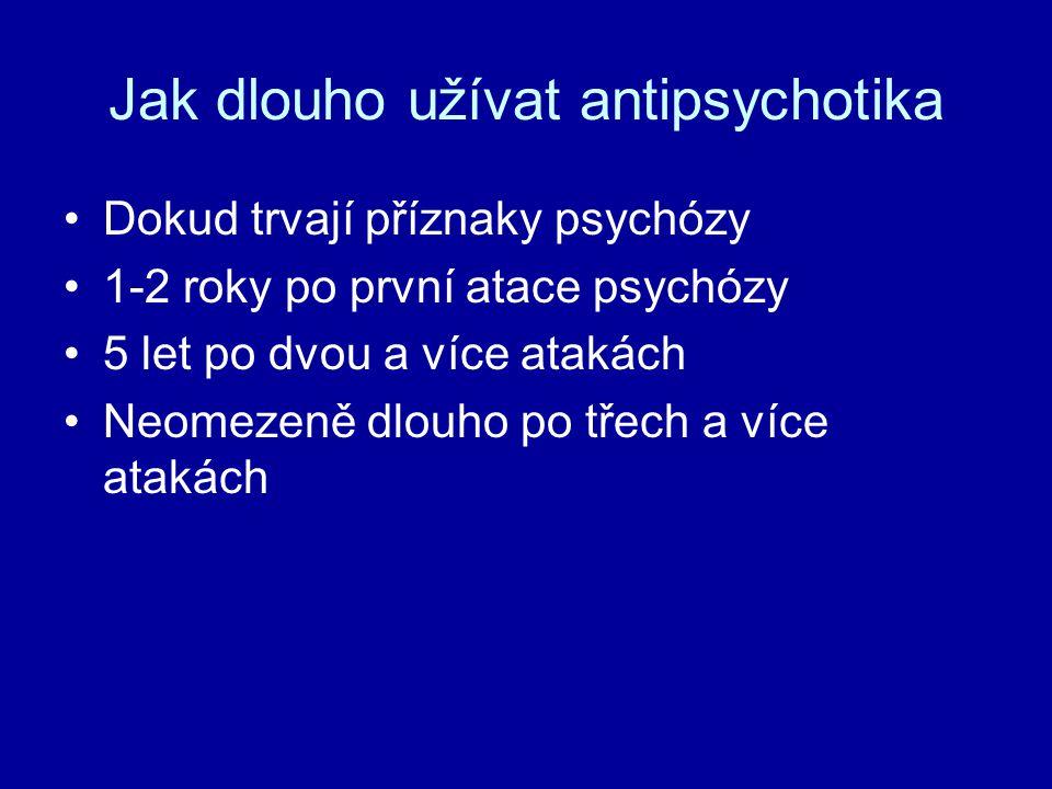 Jak dlouho užívat antipsychotika Dokud trvají příznaky psychózy 1-2 roky po první atace psychózy 5 let po dvou a více atakách Neomezeně dlouho po třec