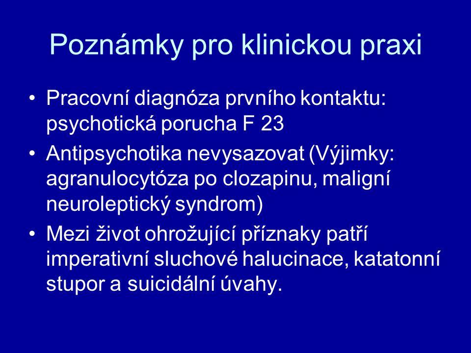 Poznámky pro klinickou praxi Pracovní diagnóza prvního kontaktu: psychotická porucha F 23 Antipsychotika nevysazovat (Výjimky: agranulocytóza po cloza