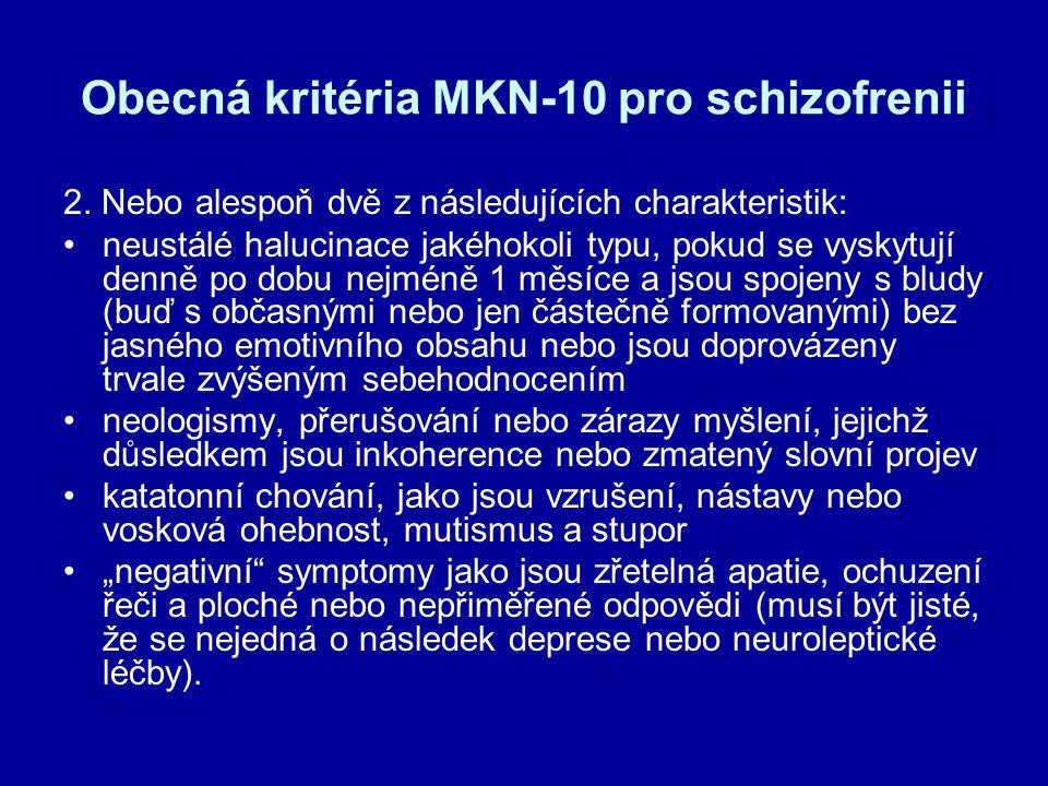 Obecná kritéria MKN-10 pro schizofrenii 2. Nebo alespoň dvě z následujících charakteristik: neustálé halucinace jakéhokoli typu, pokud se vyskytují de