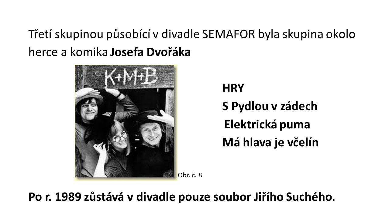 Třetí skupinou působící v divadle SEMAFOR byla skupina okolo herce a komika Josefa Dvořáka HRY S Pydlou v zádech Elektrická puma Má hlava je včelín Po r.