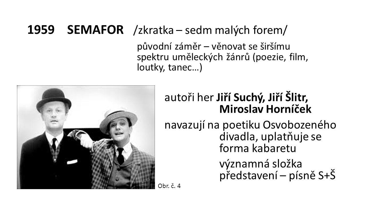 1959 SEMAFOR /zkratka – sedm malých forem/ původní záměr – věnovat se širšímu spektru uměleckých žánrů (poezie, film, loutky, tanec…) autoři her Jiří Suchý, Jiří Šlitr, Miroslav Horníček navazují na poetiku Osvobozeného divadla, uplatňuje se forma kabaretu významná složka představení – písně S+Š Obr.