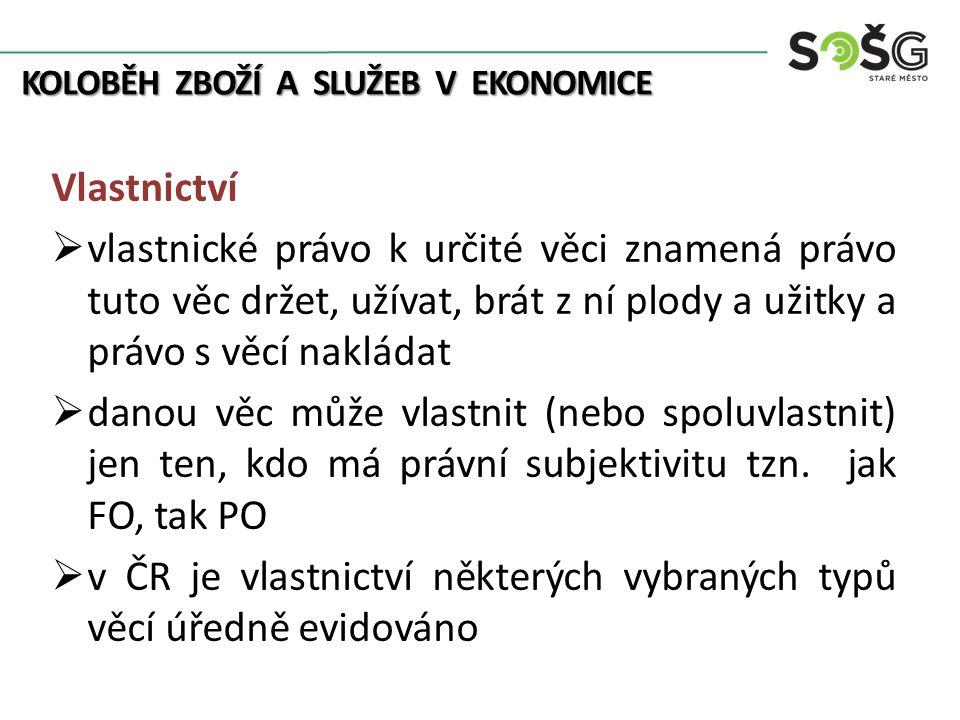 KOLOBĚH ZBOŽÍ A SLUŽEB V EKONOMICE Vlastnictví  povinně se musí např.